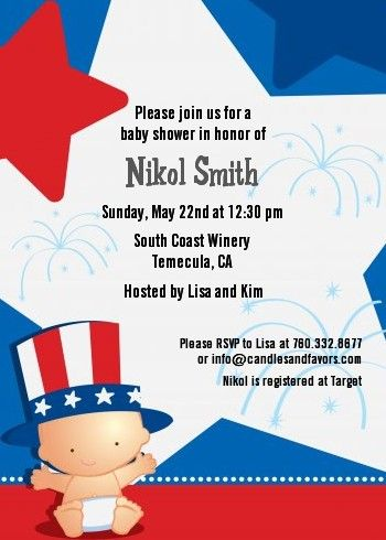 Fourth Of July Little Fireer Baby Shower Invitations