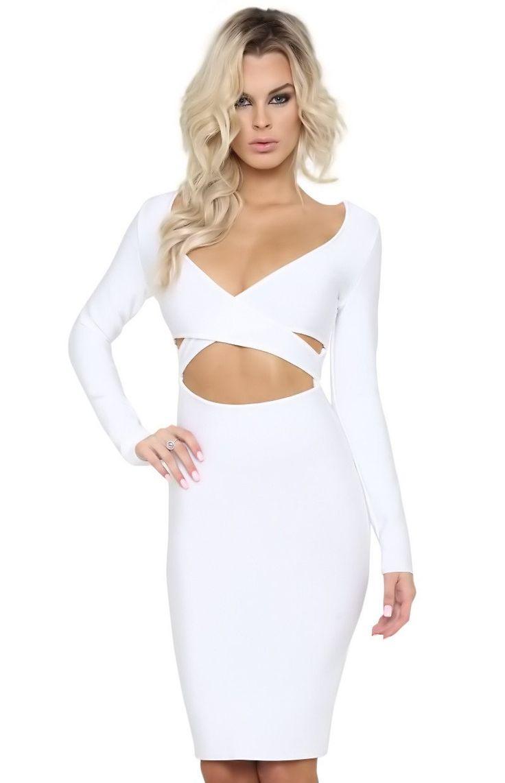 Posh Girl Talia Cut-Out Long sleeve Bandage Dress
