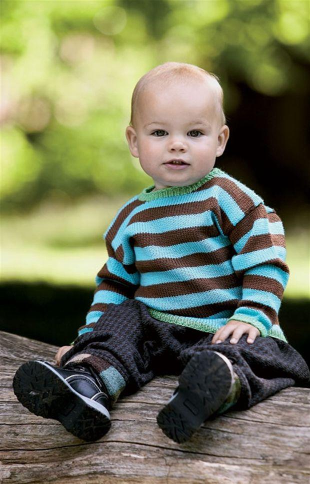 Baby strik: Bredstribet bluse - Hendes Verden