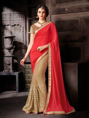 Pink and Cream Net Saree with Sequins Work