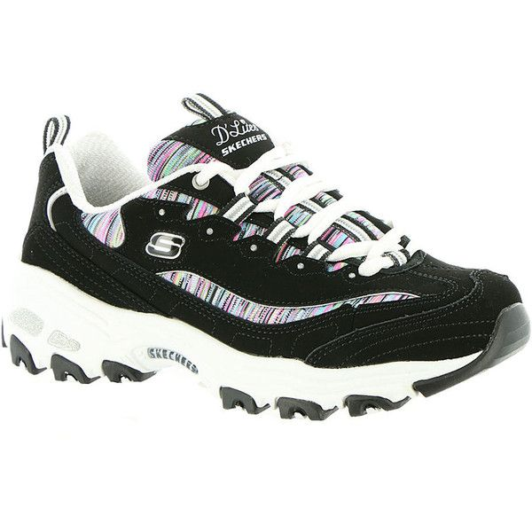 Skechers Sport D'Lites Interlude Women's Black Sneaker (€54) ❤ liked on Polyvore featuring shoes, sneakers, black, black shoes, kohl shoes, skechers sneakers, shock absorbing shoes and black trainers