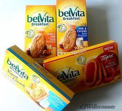 Belvita breakfast biscuits made with  5 wholegrains 4 varieties 1 box of each