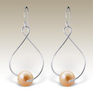 #Silver glass pearl #earrings - ER-APS1734-JP10/18847