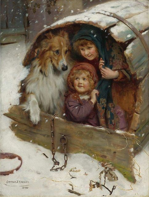 "And I especially love this painting!  It gives me the ""warm fuzzies"" :)  -painted by Arthur John Elsley."