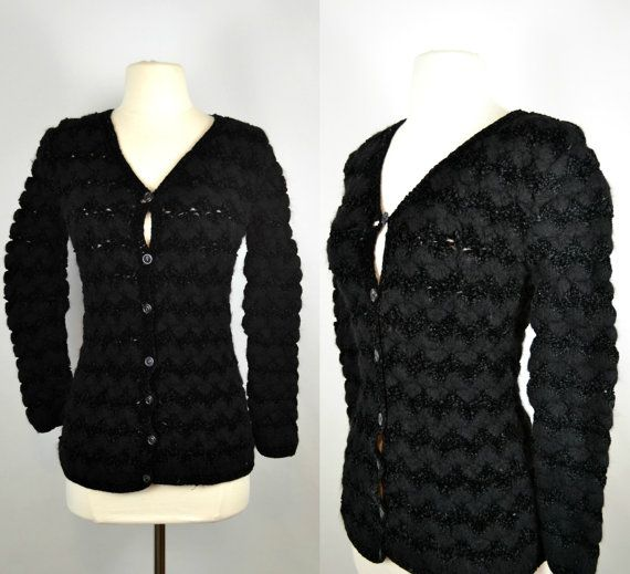 Vintage Black Fitted Cardigan Sweater by by KrisVintageClothing
