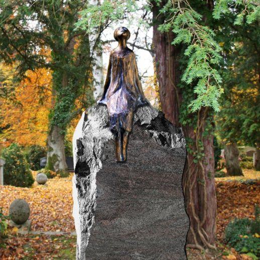 Einzigartiges Granit Grabmal mit Bronzefigur • Qualität & Service direkt vom Bildhauer • Jetzt Grabstein online kaufen bei ▷ Serafinum.de