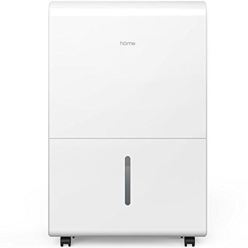 hOme 50 Pint Dehumidifier - Energy Star Electric Dehumidifier Machine for Basement or Large Room with Hose Drain to Remove Mildew Mold or Odor - Safe Mid Size Portable Wheels - Auto Humidity Control