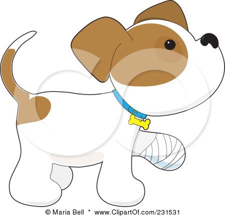 Royalty-Free (RF) Clipart Illustration of a Cute Puppy Dog Walking With A Bandaged Paw by Maria Bell