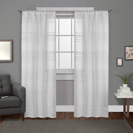 Exclusive Home Monet Sheer Linen Pleated Cabana Stripe Rod Pocket Window Curtain Panel Pair, Winter White, 5484, Beige