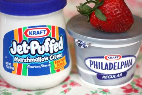 Just whip together with an electric mixer: 1 jar of Marshmallow Creme and 1 tub (12 oz.) of Cream Cheese!