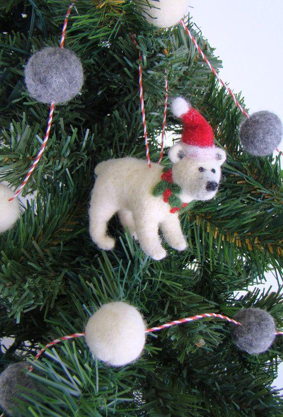 Bear Christmas Ornament, Needle Felted Polar Bear In Santa Hat and Wreath