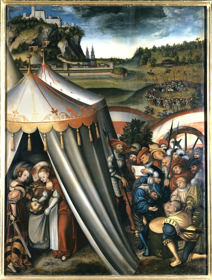 Judith in the Tent of Holofernes by Lucas Cranach the Elder - Tassels on edge of pavilion