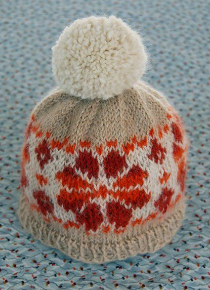 My great friend Giovanna, never one for mincing words, flat out asked me to make a hat for her one year old, Giacomo. And she requested a pom pom. If you knew Giacomo, you'd have a hard time refusing too! This project is a great opportunity to practice your Fair Isle skills. It's small enough to rip out, redo, and make a few. Also, baby's are so uncritical. To design this hat I used the help of this great book. Besides ancient images of rugged Scottish fishermen covered head to to...