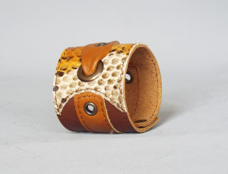 Woman leather cuff, leather bracelet, brown snake leather cuff. - 5plus