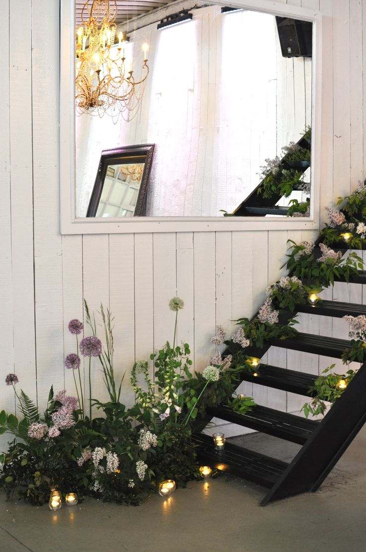 Floral Staircase, Lilacs, Foxgloves, Allium, Wedding flowers, Stairway to nowhere!
