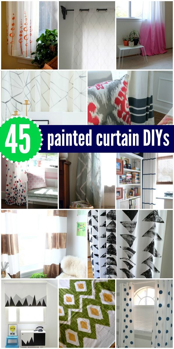 45 DIY Painted Curtains and Tutorials via Remodelaholic.com #AllThingsWindows…