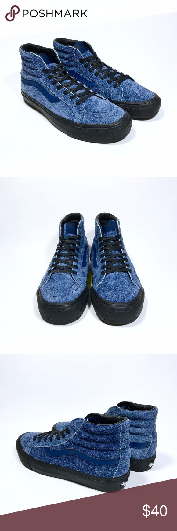 New Vans Sk8-Hi Maiden Noir Navy New Vans Sk8-Hi Maiden Noir Navy. Part of Vans Originals collection, this collaboration with Maiden Noir features the Sk8-Hi sneaker in navy blue high quality hairy suede and black shoe sole. Box not included. Men's size 9.0, Women's size 10.5. Vans Shoes Sneakers