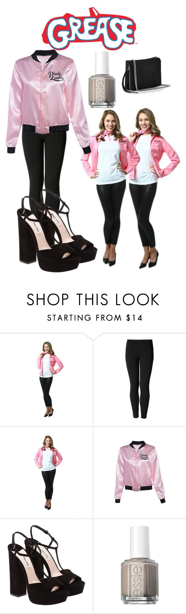 """""""Grease costume"""" by ariana-grandeofficial ❤ liked on Polyvore featuring Miu Miu, Essie and AllSaints"""