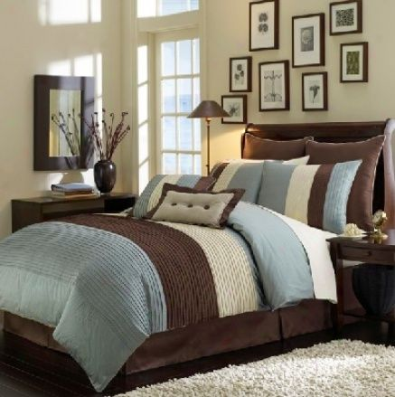 8pcs light blue beige brown luxury stripe duvet cover set queen size bedding - Brown Themed Bedroom Designs