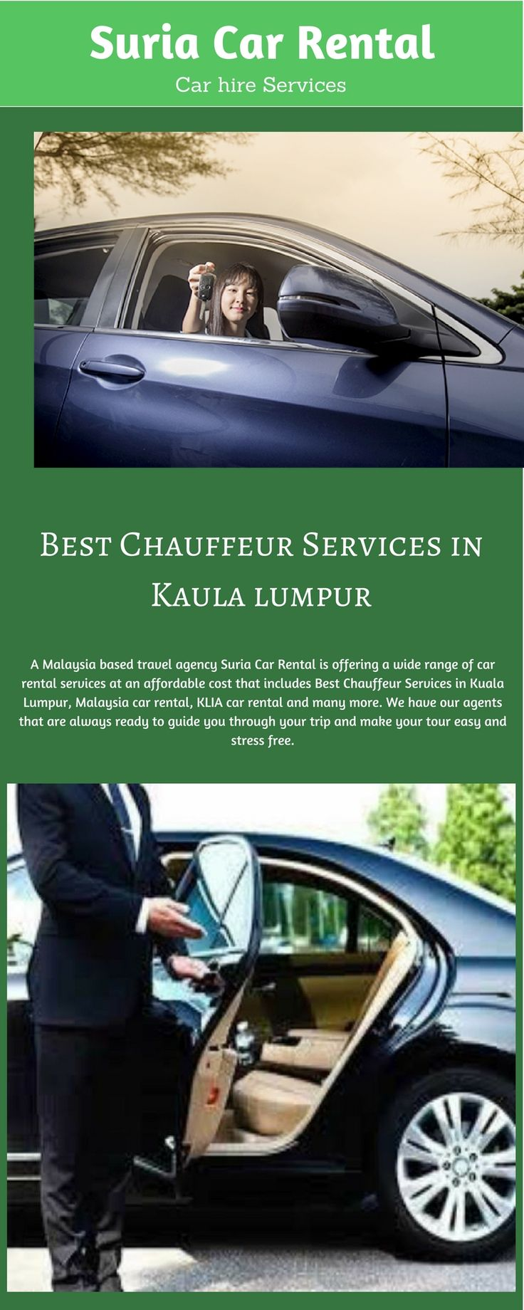 KLIA Car Rental - Suria Car Rental offers best weekend discounts on car rental in Malaysia. We provide our services all over the Malaysia including Kuala Lumpur and KLIA. If you want to hire a car around KLIA, you can just call on this number +60356211470 or visit our website https://www.suriacarrental.com.my/. We also offer car leasing services, to know more about it, you can visit our website.
