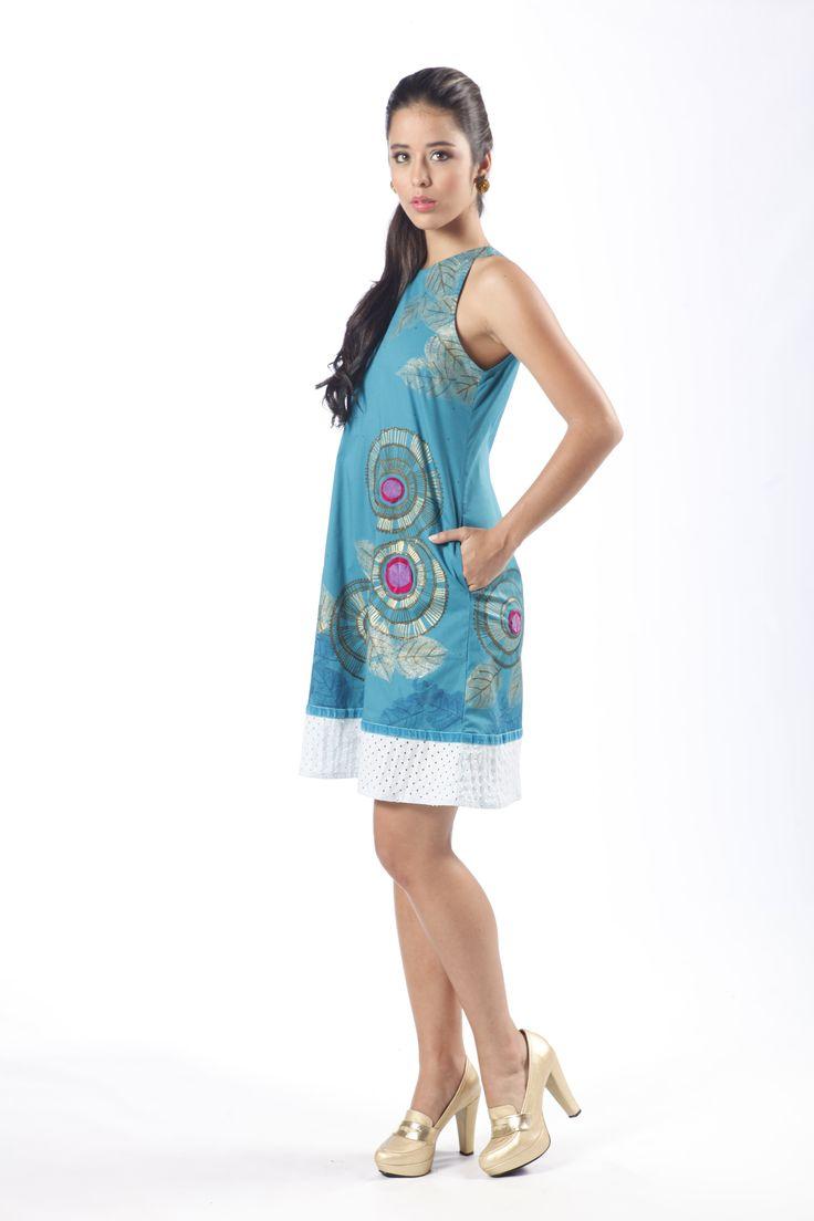 Colección AroIris-Vestido Vinca, pintado a mano por Croquis