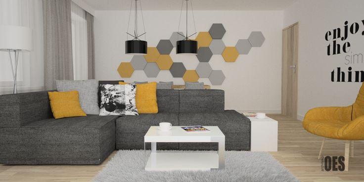 #żółtywewnętrzu #żółtysalon Sofa narożna z żółtymi elementami dekoracyjnymi, panele fluffo na ścianie