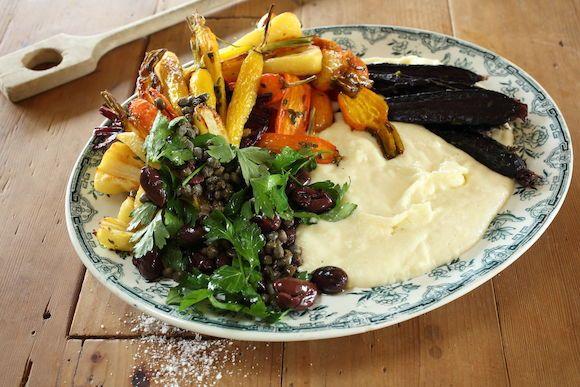 Mascarpone white polenta with heirloom vegetables and caper olive salad . I will make a vegan polenta. Yum 02