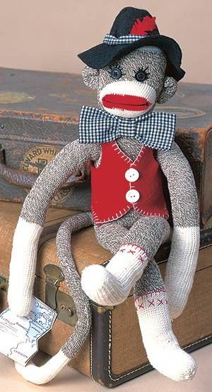 Unky the Sock Monkey Pattern from Leisure Arts. Find it here: http://www.leisurearts.com/products/unky-the-sock-monkey-pattern-digital-download.html #sock #monkey
