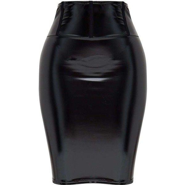 Shape Black High Waist Vinyl Mini Skirt ($35) ❤ liked on Polyvore featuring skirts, mini skirts, high rise skirts, high-waist skirt, high-waisted skirt, vinyl skirt and short mini skirts