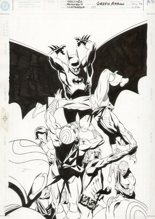 Catawiki online auction house: Original Cover Art By Rodolfo Damaggio And Robert Campanella - DC Comics - Green Arrow #134 - Featuring Batman Cover - (1998)