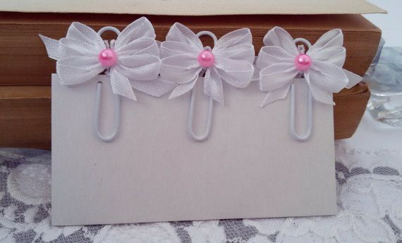 3 Shabby Chic planner clips white planner clips by Rocreanique on Etsy