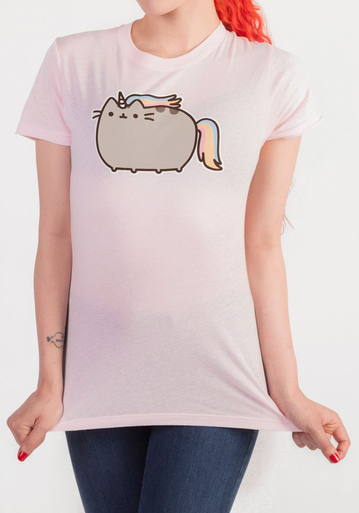 What can be better than Pusheen? Pusheenicorn! This juniors tee features Pusheen the cat as a unicorn creature.