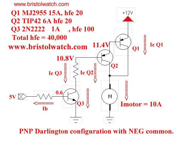 Mj2955  Tip42  And 2n2222 Darlington Transistor Switch