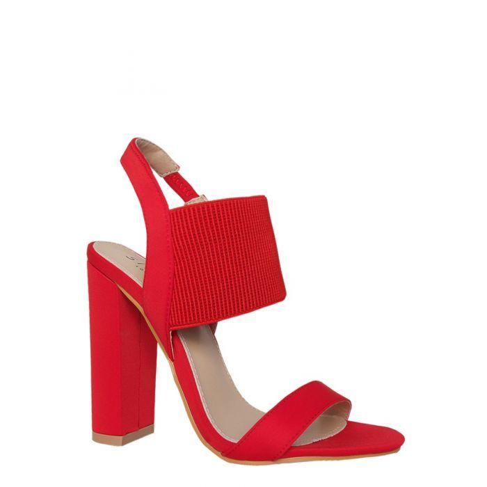 be00aa99b06 Hollie Red Rib Lycra Mules   S H O E S   Heeled mules, Red, Footwear