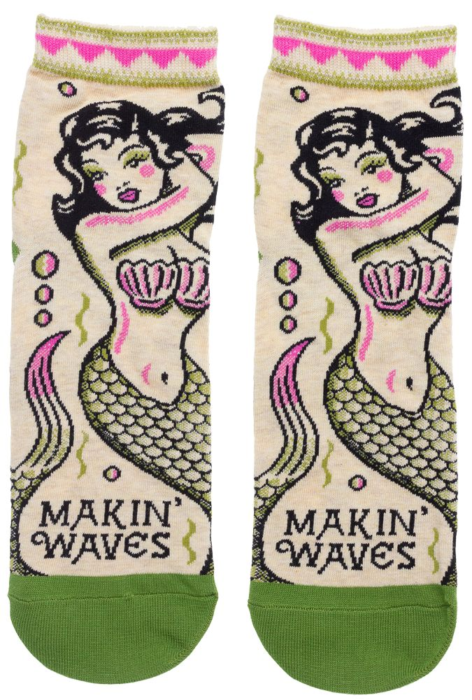 """MAKIN WAVES ANKLE SOCKS - These socks are sure to make a splash! Featuring a beautiful mermaid these lil' ankle high numbers will be perpetually """"Makin' Waves""""."""
