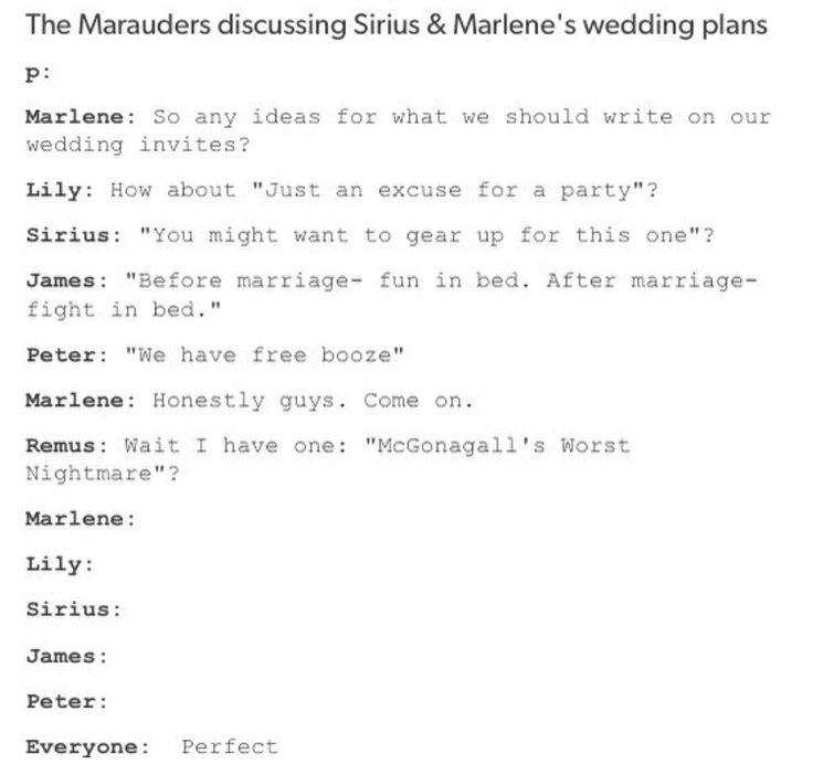 I wish sirius and marlene could gettin married