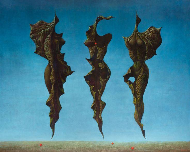 František Muzika. Three Larvae in Blue. 1970.