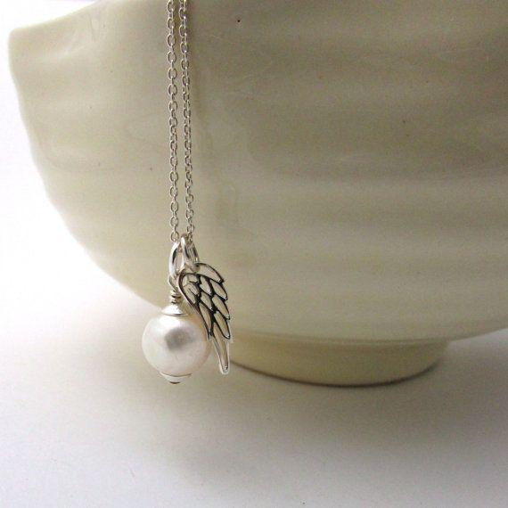 Pearl angel necklace, Christian jewelry, Catholic necklace, spiritual pendant, guardian angel jewelry, sterling silver Catholic jewelry