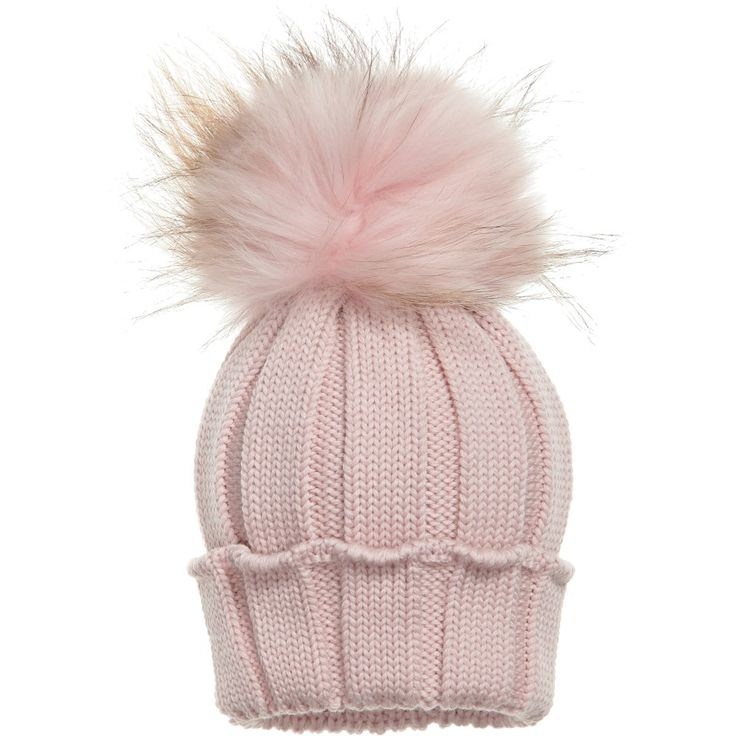 de8ee54896c ... promo code for baby soccer italy soccer flag catya pink merino wool hat  with fur pom ...