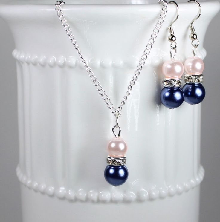 Bridesmaid Pearl Blush Pink and Navy Blue  Jewelry Set, Pearl Necklace, Pearl Earrings, Bridesmaid Jewelry, Bridesmaid Gift by SassyDesignsByLisa on Etsy https://www.etsy.com/listing/217179375/bridesmaid-pearl-blush-pink-and-navy