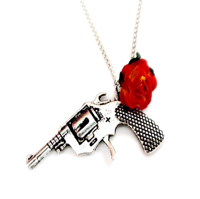 Rose and Gun Necklace... Not the other way around because I don't like Guns and Roses