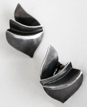 Art Smith American, c 1950s Earrings Silver Signed 1 3/4 x 1