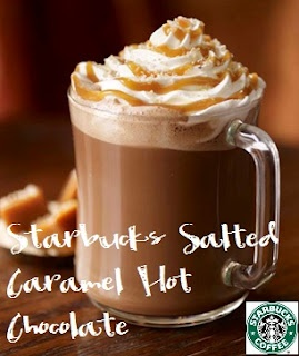 Alice's Salted Caramel Hot Chocolate    Ingredients:        3 tablespoons Caramel syrup, heated to luke warm (recipe here)      Hot Chocolate (4 tablespoons of ganache plus 6 oz. of milk, heated)      Canned Whipped Cream      Pinch of Medium Coarse Sea Salt