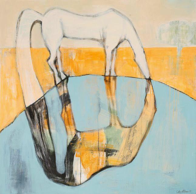 Cathrine Boman - Hesten som speiler seg, Acryl på lerret, 100 x 100