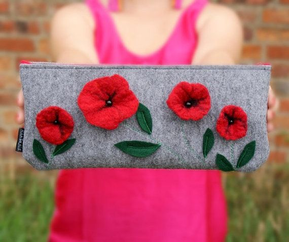 S A L E - unique FELT CLUTCH - felted red flowers - felt bag - felt purse - fall winter trends - red zipper - by KAKTUSIA. $55.00, via Etsy.