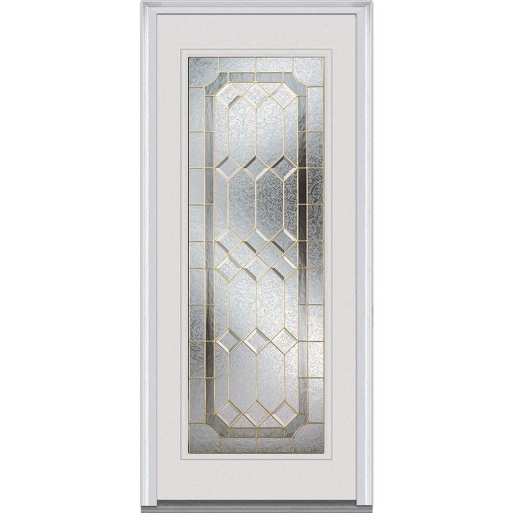 Milliken Millwork 34 in. x 80 in. Majestic Elegance Decorative Glass Full Lite Primed White Fiberglass Smooth Prehung Front Door