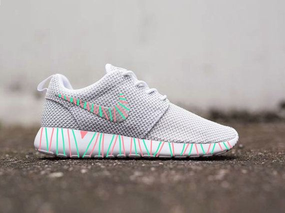 Womens Custom Nike Roshe Run sneakers South Beach by CustomSneakz