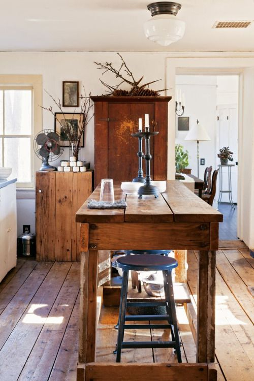 Repurpose Farmhouse Dining Table To Kitchen Island By Attaching A Platform Base For Desired Height