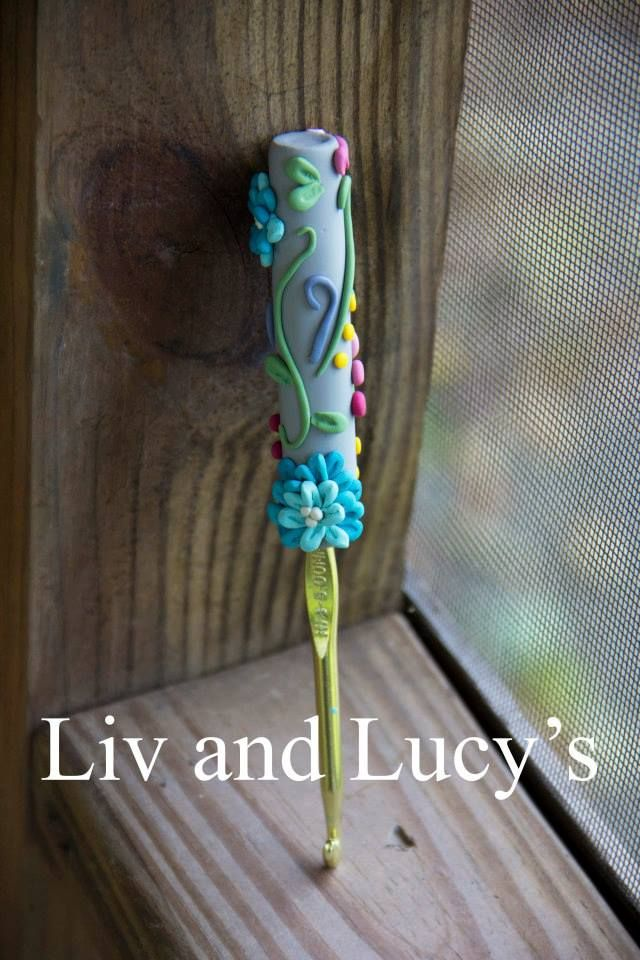 Clay crochet hook handle from Liv and Lucy's!  https://www.facebook.com/pages/Liv-and-Lucys/135417869962855?ref=hl