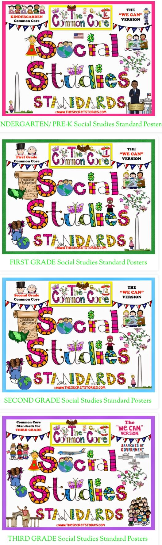 "Cutest-EVER! PreK-3rd Common Core Social Studies Standards Posters....Plus, FREE matching Science Standard posters at bottom of post :)  ...... Follow for Free ""too-neat-not-to-keep"" teaching tools & other fun stuff-https://www.pinterest.com/rgarner1289"